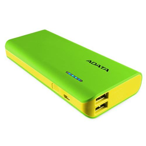 A-Data PT100 10000mAh Power Bank with Flashlight, Green/Yellow