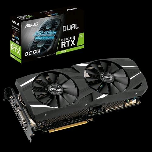 Asus DUAL-RTX2060-O6G RTX 2060 PCIE Video Card, 6GB GDDR6